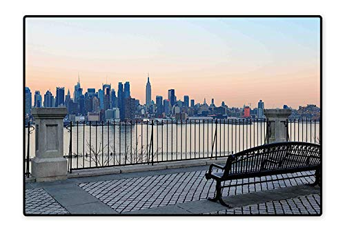 Collection Area Rug Bench in New York City Midtown Manhattan Sunset Hudsn River Skyline Scenery Photo Color Ideal Anti Slip 6'6
