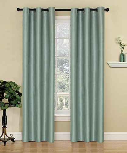 2 piece Set SKY Solid Grommet top Thermal Insulated Window Blackout Curtains Blue Gray Green Taupe 4 Colors (38″x84″, Blue)