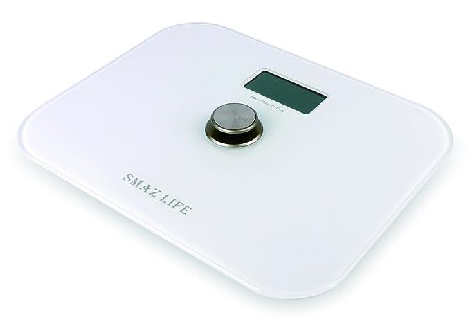 SMAZ LIFE Báscula de baño digital Battery free precisión cuerpo personal escala con Extra Slim cristal templado y LCD display digital / baño / peso ...