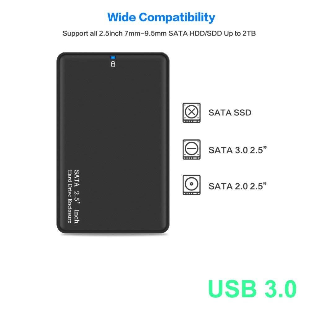 USB 3.0 Boîtier Externe pour Disque Dur Externe 2.5   SATA HDD SSD (7mm à  9,5mm) 6 to Maximale, Haute Vitesse à 5Gbps, UASP Compatible, USB 3.0  Câble, ... 0cd89f8bb671