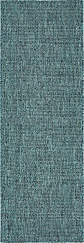 Unique Loom Outdoor Collection Casual Solid Accent Home Décor Teal Runner Rug (2' x 6') from Unique Loom