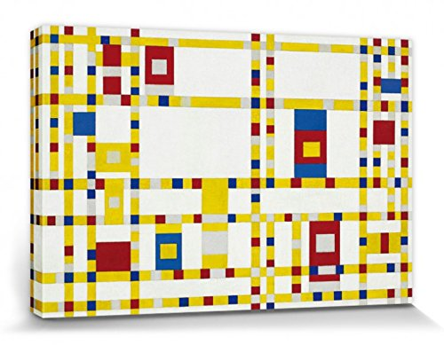 Piet Mondrian Stretched Canvas Print - Broadway Boogie Woogie, 1942-43 (12 x 8 inches) (Boogie Woogie Piet Broadway Mondrian)