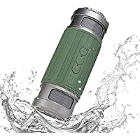 Bluetooth Speaker,Popwave OP1005 Waterproof Speakers Outdoor Portable Wireless Bluetooth Speaker 6W Output HD Bass 40mm Dual Driver with Flashlight, Universal Compatibility for Android, iPhone