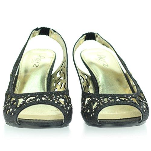 Peep Mujer Diamante Sandalias Fiesta Tacón Noche Talla Toe Señoras Slingback Boda Medio Negro Zapatos IIxyHqwpAg