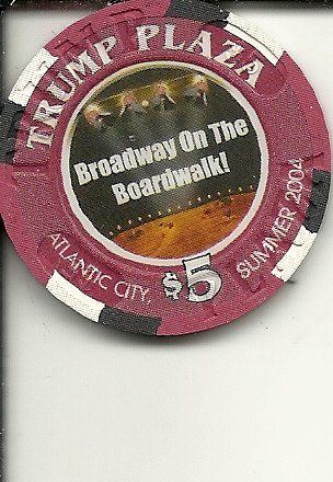 $5 trump plaza broadway on boardwalk footloose obsolete casino chip atlantic city new - The Plaza Broadway