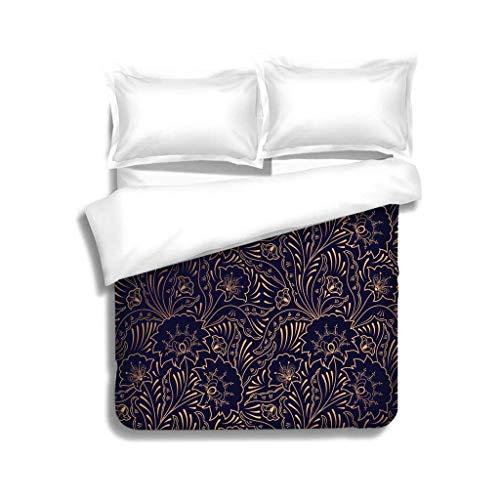 VROSELV-HOME King Duvet Cover Set,Luxury Background Vector Floral Royal Pattern Seamless Indian Design for Yoga Wallpaper Beauty Bedding Sets,1 Duvet Cover,1 Pillowcase