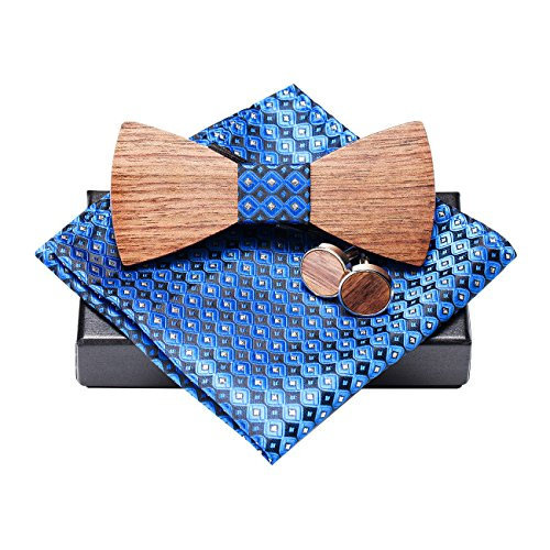 Amzchoice Classic Handmade Mens Wood Bow Tie with Matching Pocket Square and Men's Cufflinks Set (SET-027) ()