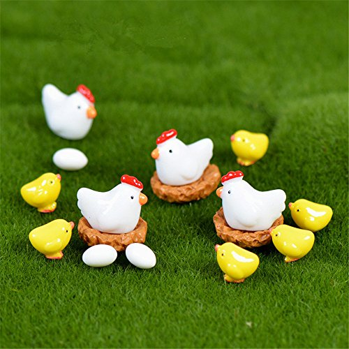Danmu Mini Resin The Chickens and Eggs Set Miniature Plant Pots Bonsai Craft Micro Landscape DIY Decor Miniature Chicken