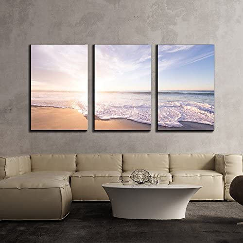 Ocean Waves on The Beach in Fair Weather x3 Panels
