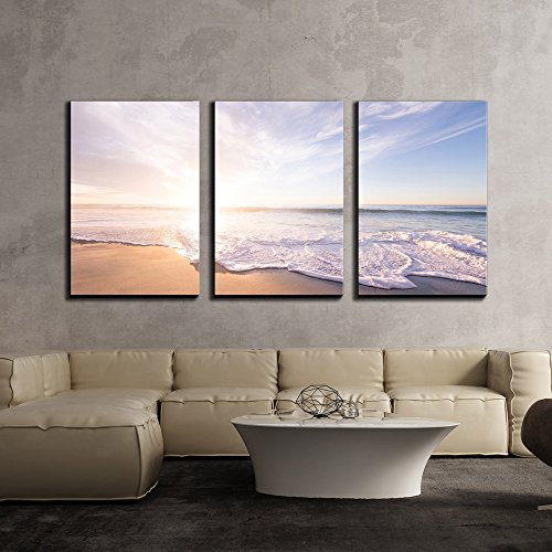 (wall26 - 3 Piece Canvas Wall Art - Ocean Waves on The Beach in Fair Weather - Modern Home Decor Stretched and Framed Ready to Hang - 24