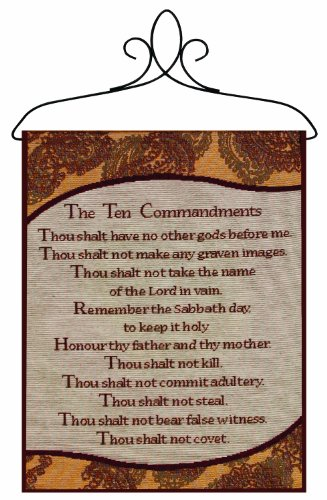 Ten Commandments Plaque (Manual Inspirational Collection 13 X 18-Inch Wall Hanging with Frame, Ten Commandments)