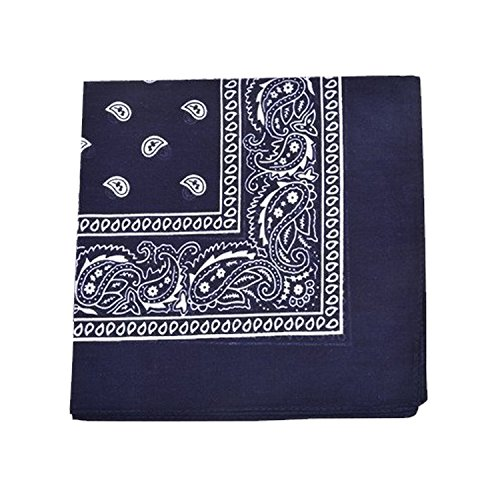 Pack of 6 X Large Paisley 100% Cotton Double Sided Printed Bandana - 27 x 27 inches (Navy Blue) ()