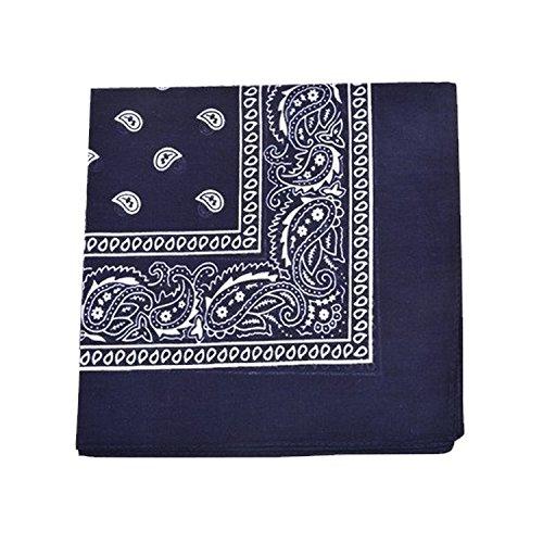 Paisley 100% Cotton Double Sided Bandana - 22 inches (Navy Blue)