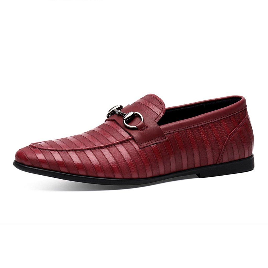 Zapatos Clásicos de Piel para Hombre Zapatos de cuero ocasionales de los hombres del verano Zapatos de cuero masculinos Zapatos de los hombres del ocioso del estilo británico ( Color : Rojo , Tamaño : EU38/UK5.5 ) EU38/UK5.5|Rojo