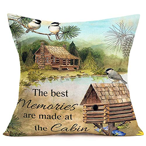 Hopyeer Vintage Mountain Lake Cabin Scenery Pillow Covers Decor Warm Memories Quote with Robin Bird Nest Pinecone Cotton Linen Throw Pillow Case Square Cushion Cover for Chair Couch 18