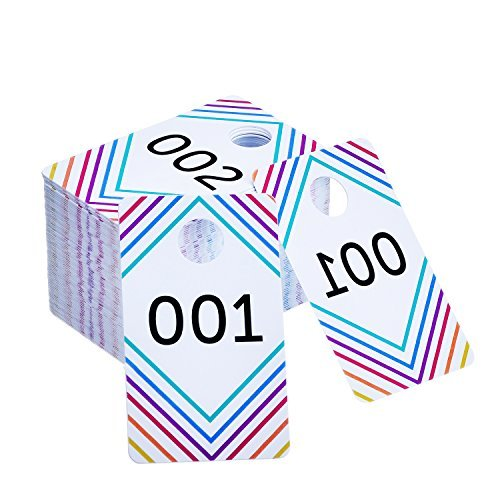 - Frienda 100 Pieces Live Sale Number Tags Plastic with Normal and Reversed Mirrored Numbers 100 Consecutive Numbers (001-100)
