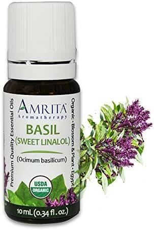 Amrita Aromatherapy Organic Basil Sweet Linalol Essential Oil, 100% Pure Undiluted Ocimum Basilicum, Therapeutic Grade, Premium Quality Aromatherapy oil, Tested & Verified, 60ML