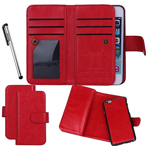 iPhone 5 5S Case, Urvoix(TM) Wallet Leather Flip Card Holder Case w/Separatable Magnetic Back Cover for iPhone 5 5S