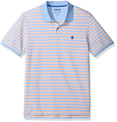 (IZOD Men's Advantage Performance Short Sleeve Stripe Polo, Feeder Sour Orange, Small)