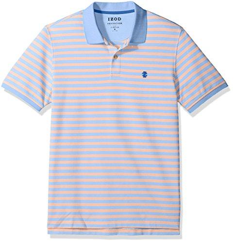 IZOD Men's Advantage Performance Short Sleeve Stripe Polo, Feeder Sour Orange, Small ()
