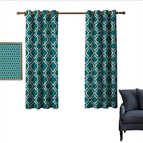 longbuyer Teal Light Luxury high-end Curtains Traditional Ikat Style Pattern with Abstract Curves Oval Shapes Moroccan Inspiration Noise Reducing 63