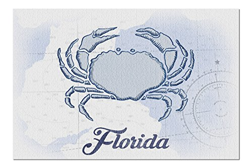 Florida - Crab - Blue - Coastal Icon (20x30 Premium 1000 Piece Jigsaw Puzzle, Made in USA!)