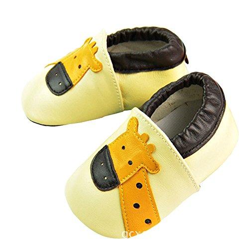 Vesi-Zapatos Suaves para bebé Primeros Pasos Zapatillas Infantiles para Niño/Niña Antideslizante Respirable Coche Talla L:12-18 Meses Jirafa Amarillo