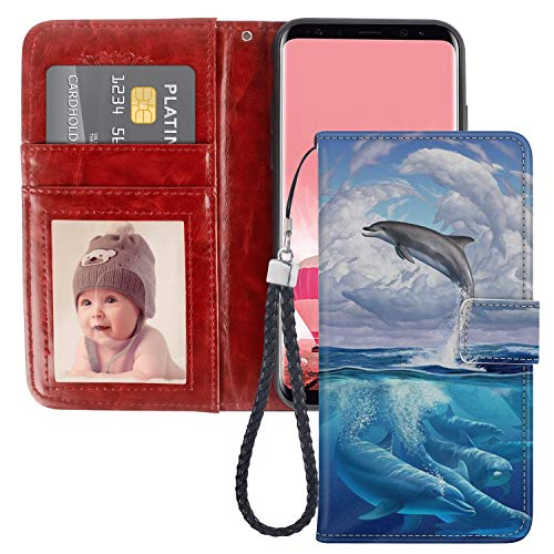 - Dolphin Cloud Samsung Galaxy S8 Wallet Phone Case, JQLOVE PU Leather Flip Magnetic Clasp Multi Card Slot with Stand Holder Cover Wallet Case for Samsung Galaxy S8