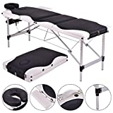 Massage Table 3 Section Portable Aluminum Facial SPA Bed Tattoo with Free Carry Case (Main:Black&White)