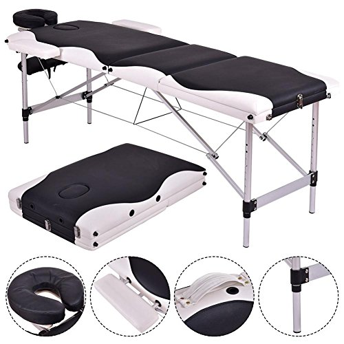 Massage Table 3 Section Portable Aluminum Facial SPA Bed Tattoo with Free Carry Case (Main:Black&White) ()