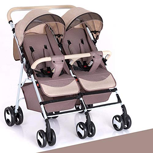 RUMIAO Newborn Double Baby Carriage, Tandem Pushchair,Twins High Landscape Baby Strollers,Khaki