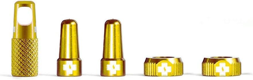 Muc Off 1075 Accessori tubeless Kit di ricambi per Personalizzare i Cerchioni della Bicicletta Compatibile con valvole Presta Colore Oro