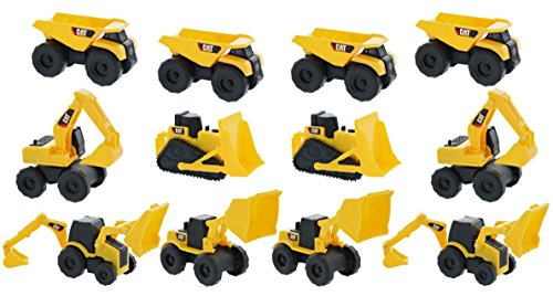 Toystate Road Rippers CAT Mini Machine Free Construction Playtime Kit (12 Pack: 4 x Dump Trucks, Wheel Loaders, Excavator, 2 x Bulldozer, 1