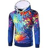 Mens Sweatshirt,FUNIC Mens Long Sleeve Digital Printed Hoodie Hooded Sweatshirt Tops Coat Outerwear (L, Blue)