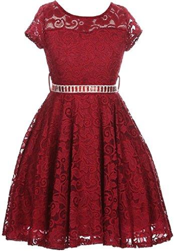 [Big Girls' Illusion Lace Top Stone Belt Flowers Girls Dresses Burgundy 10 (J19KS88)] (Red Mini Cropped Satin Gloves)