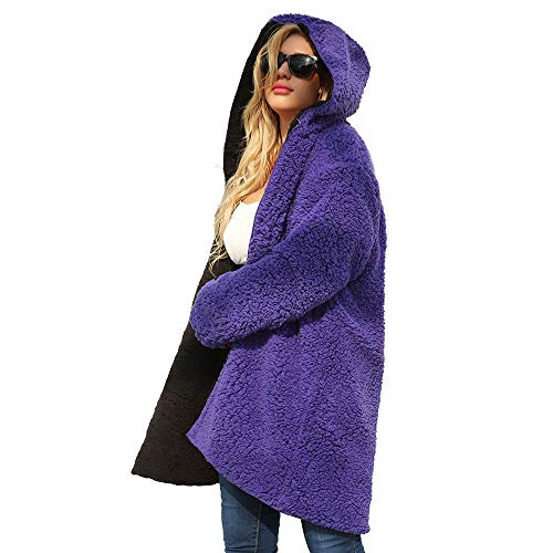 (Sunward Women's Warm Reversible Faux Fur Winter Hooded Cardigan Coat (2XL, Purple))