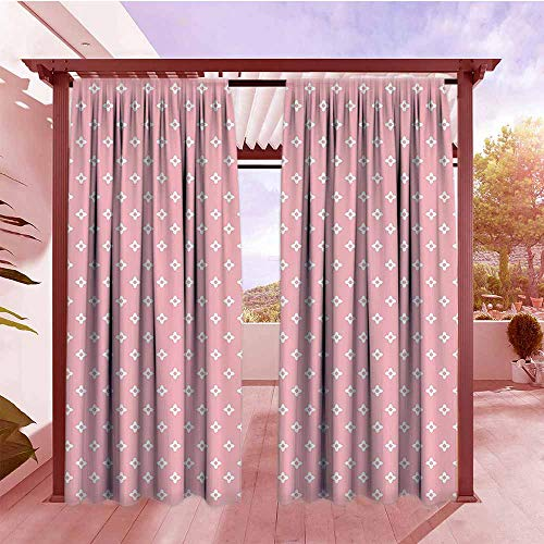 (Outdoor Patio Curtains Pink Delicate Small Florets in White Feminine Elegant Genteel in Vogue Soft Design Rod Pocket Curtain Panels W84x96L Light Pink White)