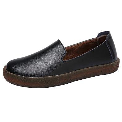 uirend Zapatos Mocasines Mujer - Señoras Cuero Plano Ponerse Memoria Espuma Amortiguado: Amazon.es: Zapatos y complementos