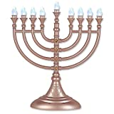Traditional LED Electric RoseGold Hanukkah Menorah With Crystals - Battery or USB Powered - Includes a Micro USB 4' Charging Cable