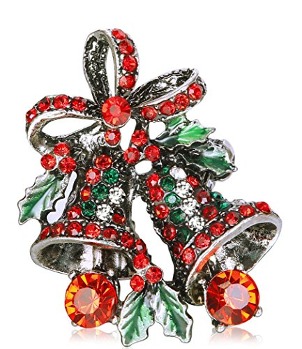 Thunaraz Rhinestone Crystal Brooch Pin for Women CZ Holiday Christmas Brooch Gift Bell Brooch - Ideas For Christmas Costumes