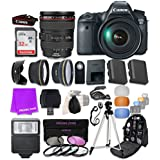 Canon EOS 6D 20.2 MP Full-Frame CMOS Digital SLR Camera Bundle with EF 24-105mm f/4 L IS USM Lens & SanDisk 32GB Ultra Class 10 SDHC UHS-I Memory Card and Professional Complete Accessory Bundle