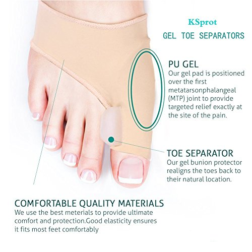 Bunion Corrector & Bunion Relief Protector Sleeves Kit, Bunion Toe Straightener with Gel Toe Separator, Hallux Valgus Pain Relief and Big Toe Alignment, 2 Pieces