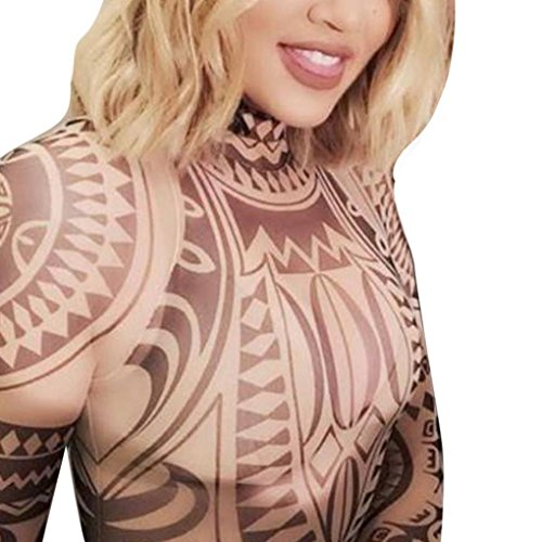 OutTop Women's Fashion Tattoo Printed Long Sleeve Ladies Sexy Mesh Jumpsuits (S, A)