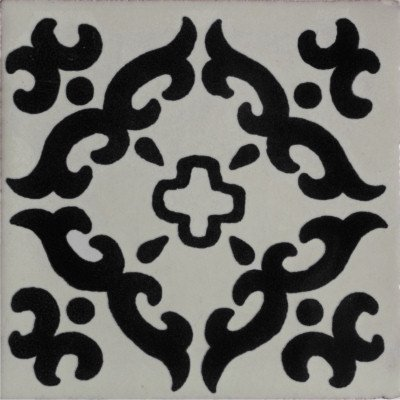 6x6 4 pcs Black Barroco Talavera Mexican Tile by Fine Crafts & Imports