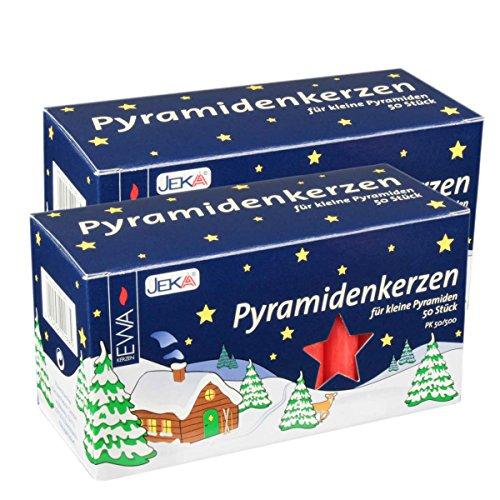 Jeka Red 14mm Diameter Pyramidenkerzen German Christmas Candles, 2 Sets of 50 (100)