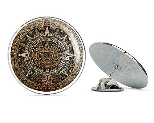 "BRK Studio Pretty Multicolored Realistic Ancient Aztec Calendar Date Round Metal 0.75"" Lapel Pin Hat Shirt Pin Tie Tack Pinback"