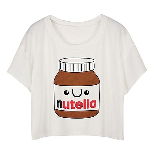 MingTai Mujeres Camiseta Manga Corta Con Cuello Redondo Camisetas Cortas Personalizadas Camisas Blan...