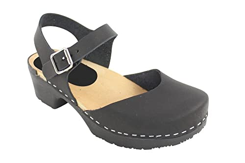 Swedish Clogs : Soft Sole Mary Jane Style Clog in Black Leather UK 2.5 EUR  35