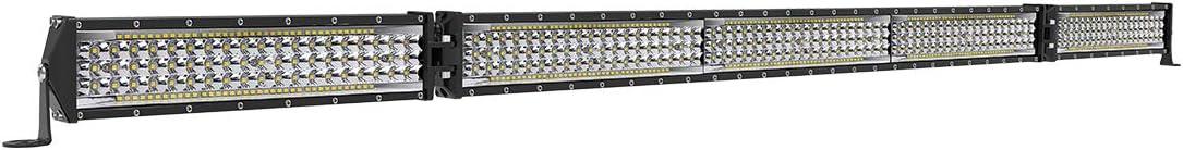 Rigidhorse 52 inch LED Light Bar 5 Row Folding Flood Spot Beam Work Light Kit LED Driving Light for Jeep Pickup SUV ATV UTV Truck Boat (2 x 10 Inch + 1 x 30 Inch Light Bar Combo)