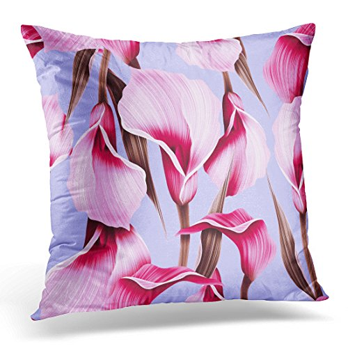 Calla Bordered Lilies (Golee Throw Pillow Cover Green Abstract Calla Lilly Flower Elegant Colorful Pattern with Blossom Decorative Pillow Case Home Decor Square 16x16 Inches Pillowcase)